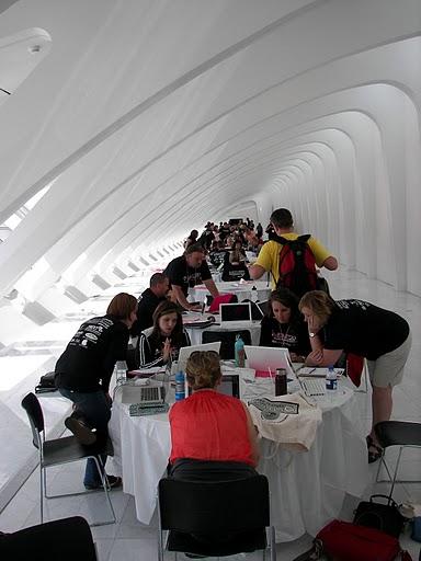 Teachers working hard in the West Galleria.