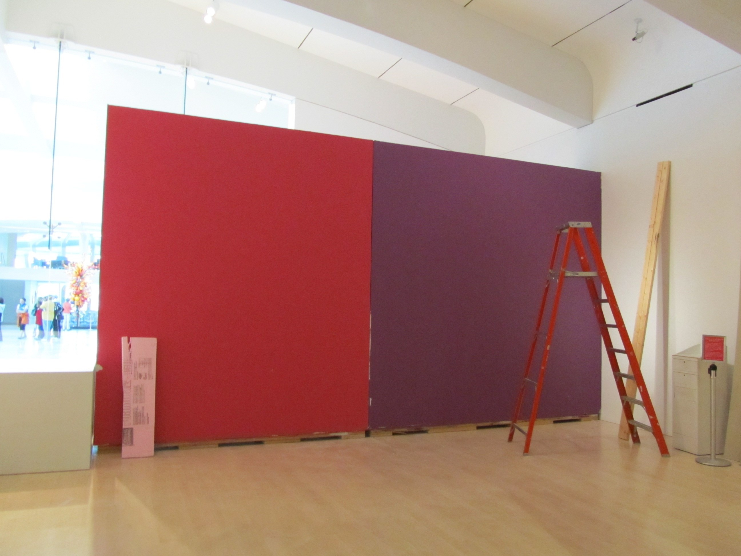 Red Colour Wall: Layers Of Exhibition Paint