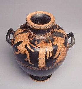 Niobid Painter (Greek, Attic, active ca. 470–ca. 445 BC). Hydria (Water Jar), ca. 460 BC. Red-figure terracotta. Gift of Mrs. Douglass Van Dyke, in Memory of Douglass Van Dyke, to the Milwaukee Art Museum. Photo credit Larry Sander
