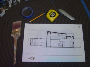 "Tools for the project and the 3/16"" scale drawing."
