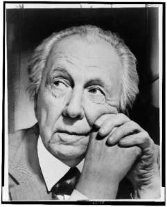 Frank Lloyd Wright, head-and-shoulders portrait, facing left, 1954. World Telegram & Sun photo by Al Ravenna. New York World-Telegram and the Sun Newspaper Photograph Collection (Library of Congress)