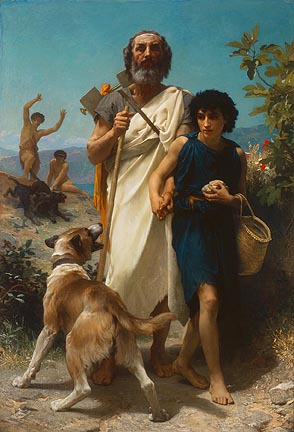 William-Adolphe Bouguereau (French, 1825-1905), Homer and His Guide, 1874. Oil on canvas. Milwaukee Art Museum, Layton Art Collection, Gift of Frederick Layton. Photo credit Larry Sanders