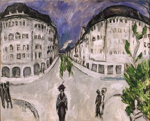 Ernst Ludwig Kirchner, Street at Schöneberg City Park, 1912-13. Oil on canvas. Gift of Mrs. Harry Lynde Bradley. Photo credit Larry Sanders