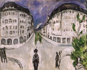 Ernst Ludwig Kirchner, Street at Schöneberg City Park, 1912-13. Oil on canvas. Gift of Mrs. Harry Lynde Bradley. Photo credit Larry Sanders