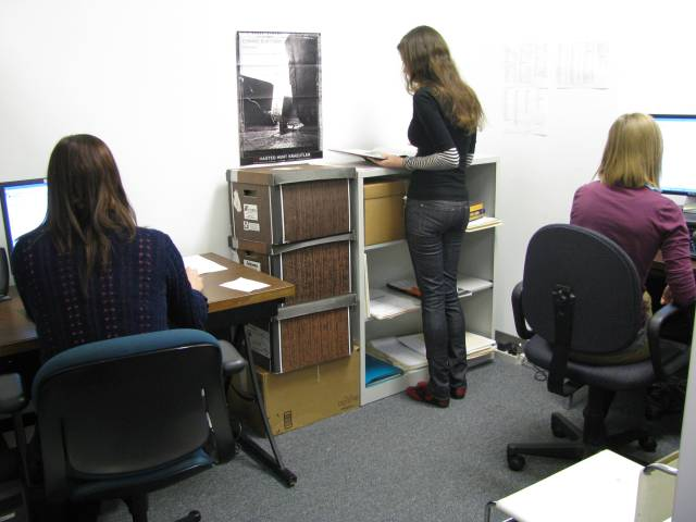 The Interns spend much of their time in this corner of the Curatorial area, working on their computers. Left to right: Courtney Books, Amber Parsons, and Kim Kroeger