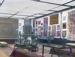 "A hand-colored installation view of the exhibition ""Official Persian Exhibition From Panama-Pacific Exposition, San Francisco"" held at the Milwaukee Art Institute in January 1916, scanned from a glass lantern slide. Milwaukee Art Museum, Institutional Archives."