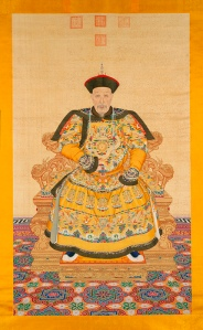 "Portrait of the Qianlong Emperor. Ink and colors on silk. 99 ½ x 59 inches (253 x 150 cm). (c) Palace Museum. This work is in ""The Emperor's Private Paradise: Treasures from the Forbidden City"" exhibition at the Milwaukee Art Museum this summer."
