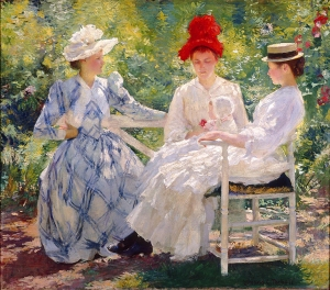 Edmund Charles Tarbell, Three Sisters - A Study in June Sunlight, 1890. Oil on canvas. Milwaukee Art Museum, Gift of Mrs. Montgomery Sears. Photo credit Efraim Lev-er.