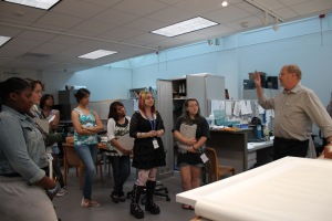 The teens visit Jim DeYoung, Senior Conservator at the Milwaukee Art Museum.