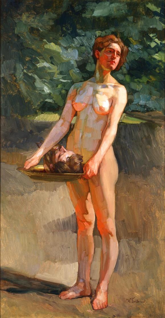 Salome Wilhelm Trübner 1898 Oil on cardboard 39 3/4 x 21 in. (100.97 x 53.34 cm) Purchase, René von Schleinitz Memorial Fund M1978.2