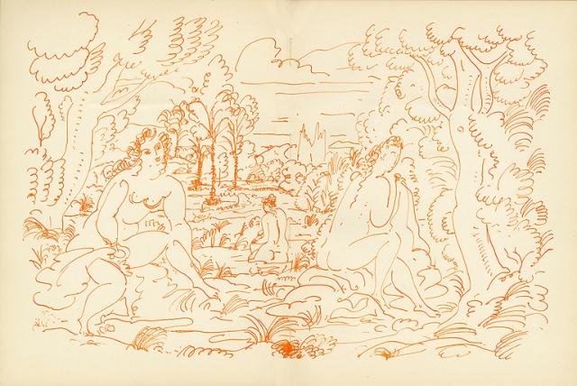 "André Derain, ""Calendar, Bathing Scene"", VERVE The French Review of Art Volume 2, Number 8 (Sept-Nov 1940). Printed in France. Milwaukee Art Museum, Gift of Lillian Schultz. Photo by Beret Balestrieri Kohn"
