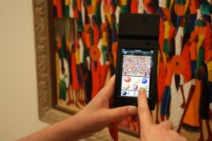 iPod Touch Tour with Laurent Casimir, Crowded Market, 1972. Oil on Masonit. Milwaukee Art Museum, Gift of Richard and Erna Flagg. Photo by Emily Sullivan