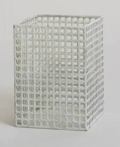 "Vase Josef Hoffmann (Austrian, 1870-1956) c. 1905. Painted perforated metal, 4 1/4 x 3 1/8 x 3 1/8"" (10.8 x 8 x 8 cm). Manufactured by Metall-Arbeit Wiener Werkstätte, Vienna, Austria. Estée and Joseph Lauder Design Fund 400.1988"