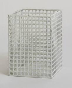 """Vase Josef Hoffmann (Austrian, 1870-1956) c. 1905. Painted perforated metal, 4 1/4 x 3 1/8 x 3 1/8"""" (10.8 x 8 x 8 cm). Manufactured by Metall-Arbeit Wiener Werkstätte, Vienna, Austria. Estée and Joseph Lauder Design Fund 400.1988"""