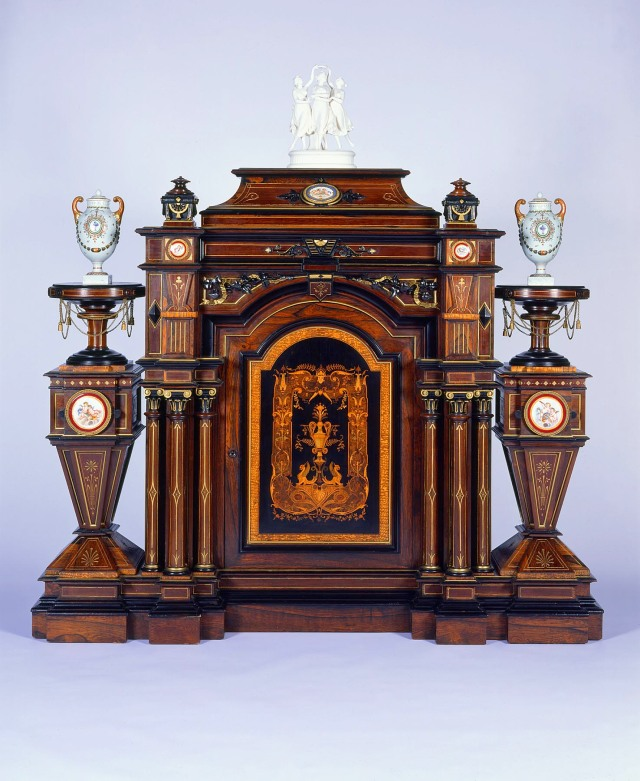 Attributed to Alexandre Roux (American, born France, 1816-1886). Parlor Cabinet. 1860-70. Wood with inlays, porcelain, gilding and gilt metal. Milwaukee Art Museum, Bequest of Mary Jane Rayniak in memory of Mr. and Mrs. Joseph G. Rayniak M1985.58