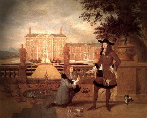 Hendrick Danckerts (Dutch, c.1625 - 1680) Royal Gardener John Rose and King Charles II, 1675. Oil on canvas.