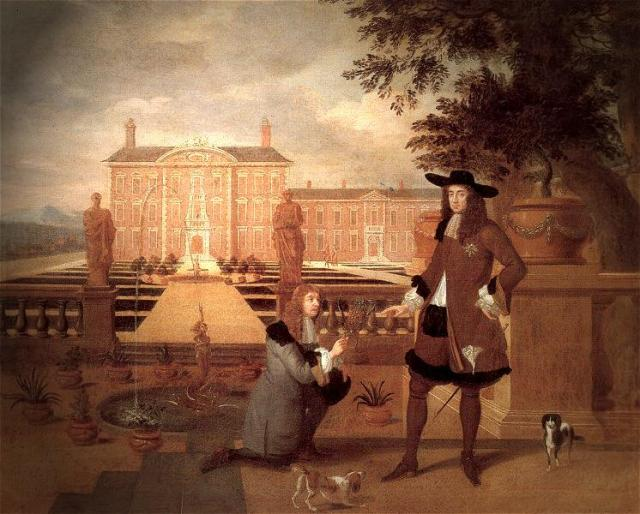 Hendrick Danckerts (Dutch, c.1625 - 1680) Royal Gardener John Rose and King Charles II, 1675. Oil on canvas.