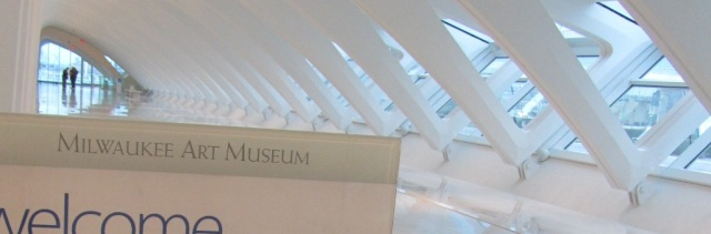 """Milwaukee Art Museum"" in Weiss Antiqua. Photo by the author."