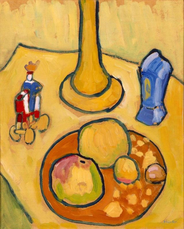 Gabriele Münter (German, 1877-1962).  Yellow Still Life.  1909.  Oil on cardboard.  Milwaukee Art Museum, gift of Mrs. Harry Lynde Bradley, M1975.156. Photo credit: Larry Sanders.