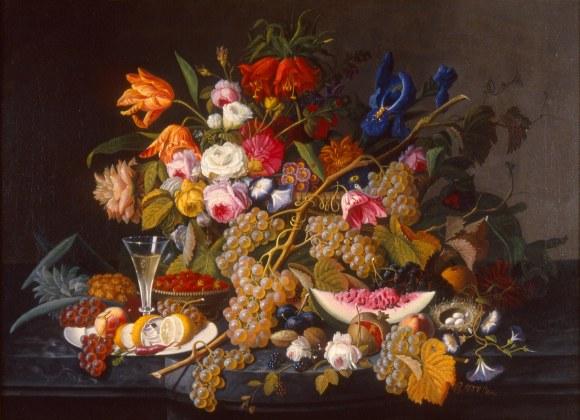 Severin Roesen (American, born Germany, ca. 1815-1872). Still Life. ca. 1852. Oil on canvas. Milwaukee Art Museum, gift of Anita Vogel Hinrichs in memory of Ferdinand Hinrichs, M1988.133. Photo credit: Dedra Walls.