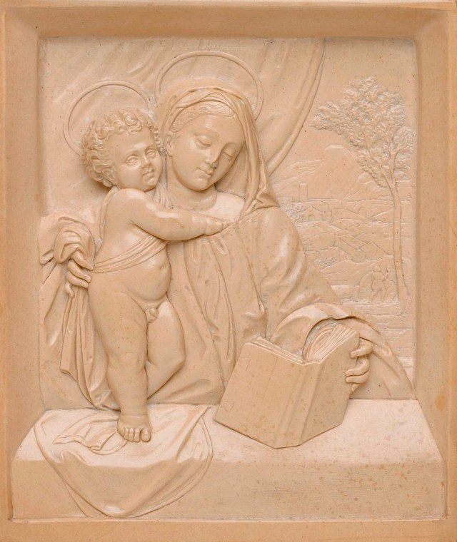 South German, Virgin and Child, ca. 1550. Solnhofen stone, 7 1/4 x 6 1/2 x 1 3/4 in. Milwaukee Art Museum, Gift of Anne H. and Frederick Vogel III in loving memory of his sister Grace Vogel Aldworth (1932-2002), M2003.67. Photo by John R. Glembin.