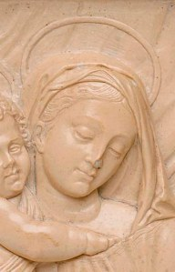 South German, Virgin and Child (detail), ca. 1550. Solnhofen stone, 7 1/4 x 6 1/2 x 1 3/4 in. Milwaukee Art Museum, Gift of Anne H. and Frederick Vogel III in loving memory of his sister Grace Vogel Aldworth (1932-2002), M2003.67. Photo by John R. Glembin.