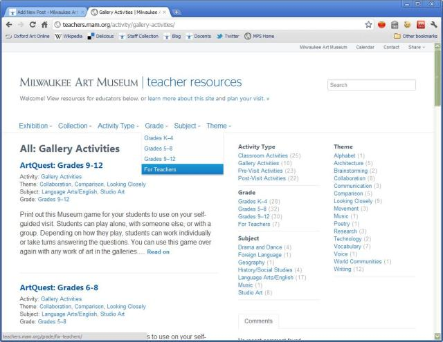 Screenshot of the new Teacher Resources site.
