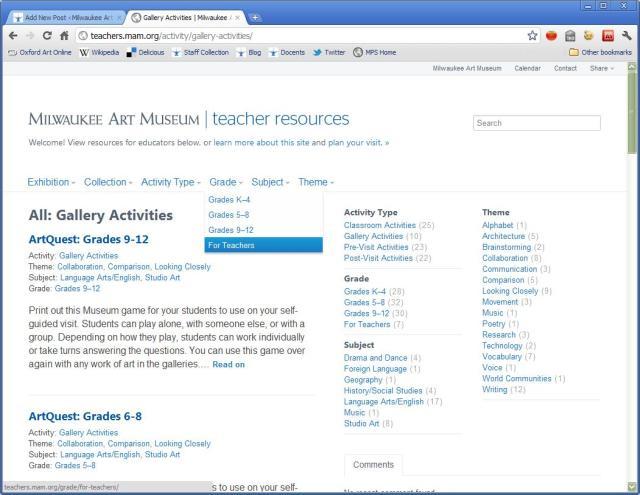 Screenshot of the new Teacher Resources site.