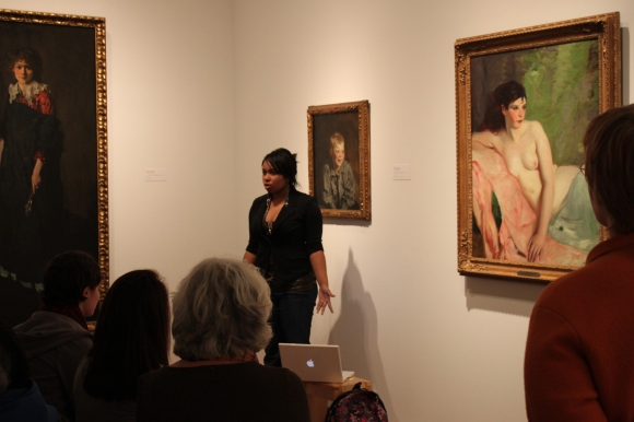 """Chelsie presents on Robert Henri's """"Betalo Nude,"""" connecting his work with her own love of music."""