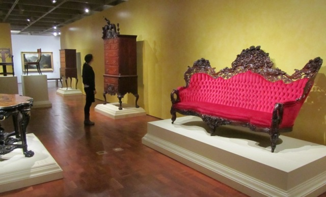 "Milwaukee Art Museum gallery, lower level ""American Collections"" showing the Belter sofa on view. Photo by the author."