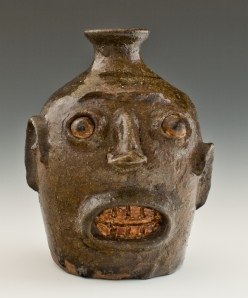 Face jug, ca. 1862. alkaline glazed stoneware with kaolin insert. Chipstone Foundation. Photo courtesy of Rob Hunter.