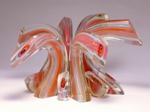 Harvey K. Littleton (American, b. 1922), Lemon/Red Crown, 1989. Blown and drawn glass, cut and polished, 15 3/4 x 28 1/4 x 31 in. Milwaukee Art Museum, Gift of Peter and Grace Friend, Mr. and Mrs. Wayne J. Roper, Laurence and Judy Eiseman, Dr. and Mrs. Jurgen Herrmann, Dr. and Mrs. Leander Jennings, Nita Soref, Marilyn and Orren Bradley, Mr. and Mrs. Frank J. Pelisek, Dr. and Mrs. Robert Mann, Burton C. and Charlotte Zucker, James Brachman, Mr. and Mrs. John F. Monroe, Mr. and Mrs. Donald Wiiken, Elmer L. Winter, Mr. and Mrs. Stuart Goldfarb, Mr. Ben W. Heineman, Mr. and Mrs. Norman Hyman, Janey and Douglas MacNeil, and Friends. Photo by Efraim Lev-er. © Harvey K. Littleton.