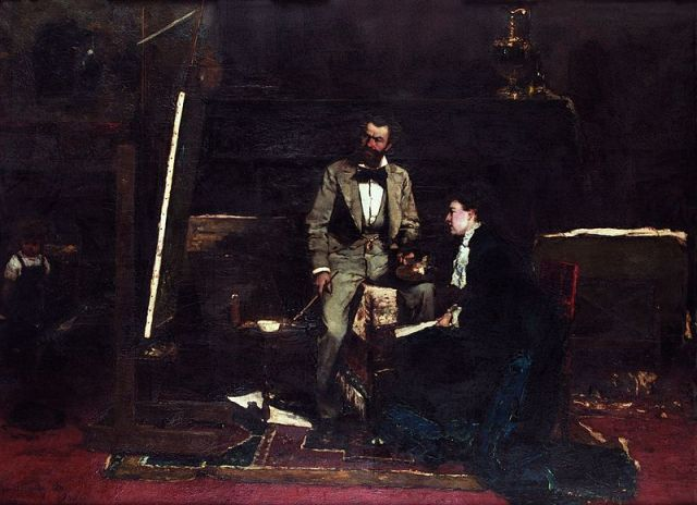Mihály Munkácsy, In the Studio, 1876. Oil on panel, 37.8 x 51.6 in. Hungarian National Gallery.