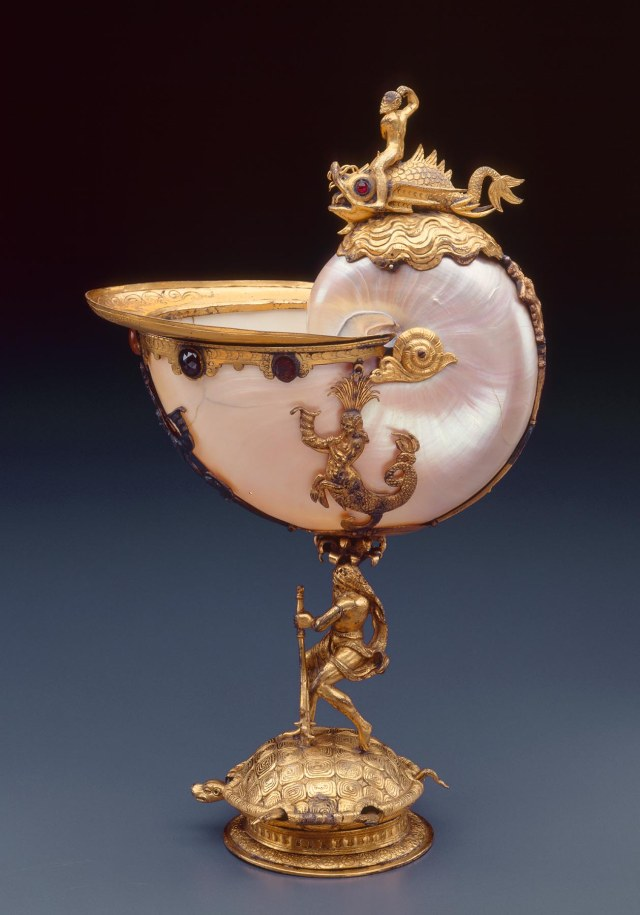 Flemish or South German Nautilus Cup, 1575/1625 Shell, gilt bronze, copper, silver, and semiprecious gems 12 1/2 x 7 1/2 x 3 3/4 in. (31.75 x 19.05 x 9.53 cm) Purchase, with funds from Donald and Donna Baumgartner M2002.170 Photo credit John Nienhuis