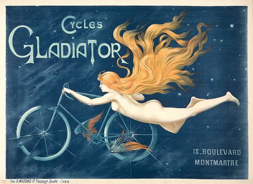 Unknown (L.W.), Cycles Gladiator, ca. 1895. Color lithograph. Private Collection, Potomac, MD. Image courtesy of Jack Rennert, New York.