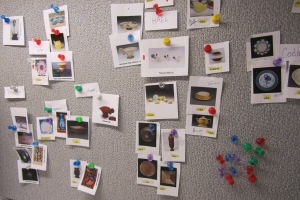 Pin board of a Milwauke Art Museum Curator. Photo by Mel Buchanan.