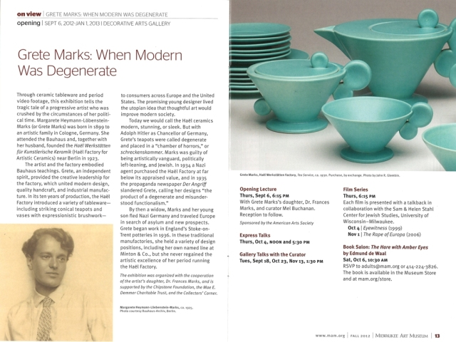 "The Museum's ""MAM Insider"", fall 2012 issue. Pages 12 and 13."