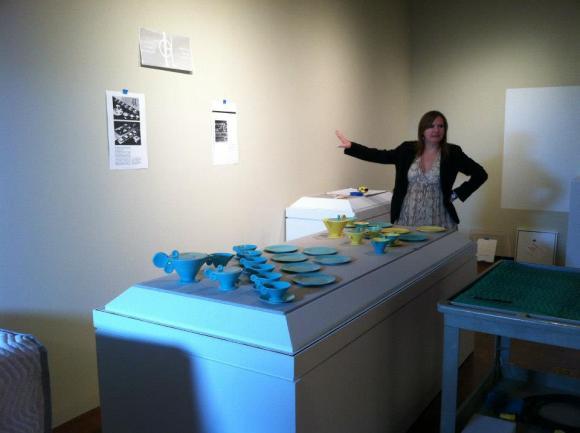 Mid-installation photo of tea service arrangement in Grete Marks. Photo by Kristin Settle.