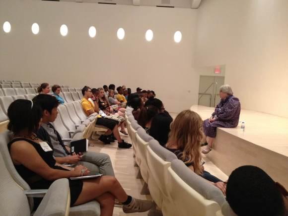 Barbara Brown Lee, Milwaukee Art Museum Chief Educator, talks to the city-wide arts interns.