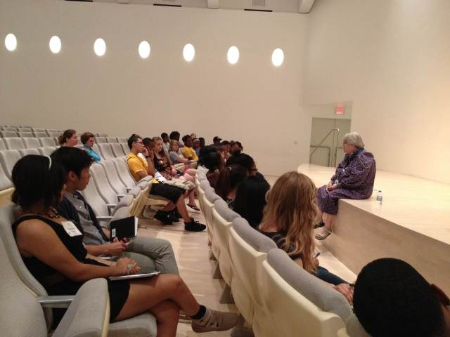 Barbara Brown Lee, Milwaukee Art Museum Chief Educator, talks to the city-wide arts interns.