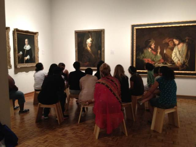 Teens discuss the Ferdinand Bol painting in one of the weekly object studies.