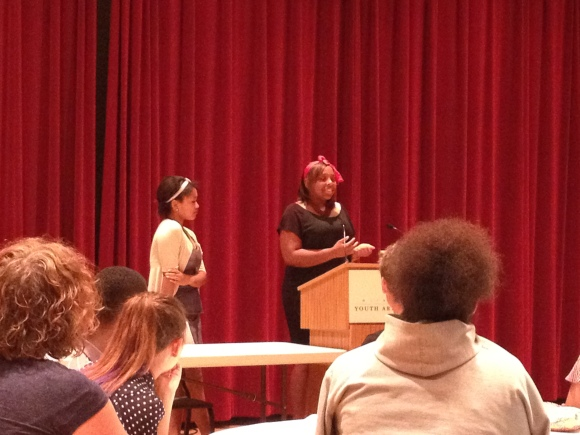 Yasmine and Ana'Nichelle speak at the city-wide arts internship culminating celebration.