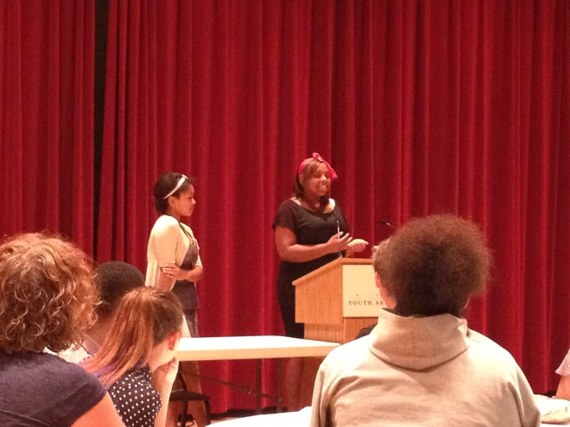 Yasmine and Ana'Nichelle speak at the city-wide arts internship culminating celebration.