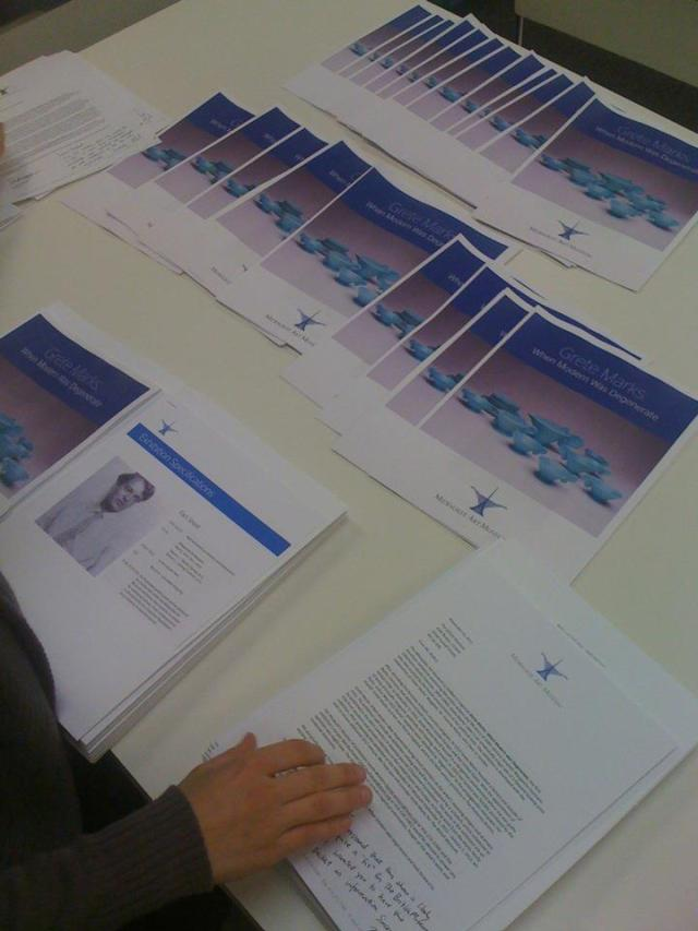 """Grete Marks"" exhibition packets. Photo by Mel Buchanan."