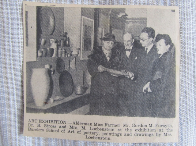 Snapshot of a newspaper clipping of Grete Marks (then Margret Loebenstein)'s exhibition at England's Burslem School of Art, 1936. Collection of Dr. Frances Marks. Photo by the author.