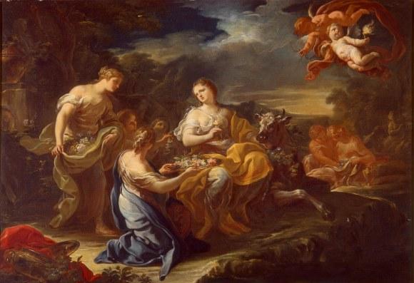 Corrado Giaquinto (Italian, 1703–1766) The Rape of Europa, ca. 1752 Oil on canvas 33 1/2 x 48 1/2 in. (85.09 x 123.19 cm) Gift of Mr. and Mrs. Myron Laskin M1970.68.1 Photo credit P. Richard Eells