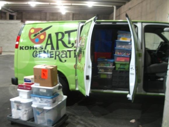 Packing up the Kohl's Art Generation Color Wheels van.