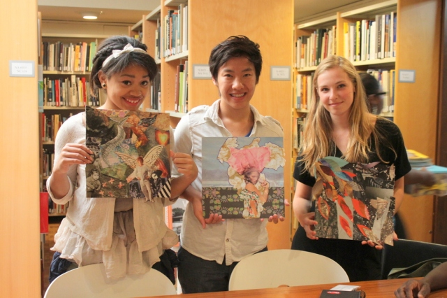 Yasmine, Steven, and Sensei with their work. Photo by Chelsea Kelly