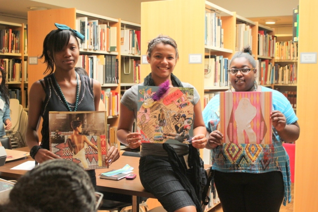 Na-Tiyana, Rosehaydee, and Destiny with their pieces. Photo by Chelsea Kelly