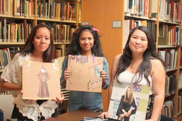 Araceli, Carolina, and Mowpunzor show their work. Photo by Chelsea Kelly